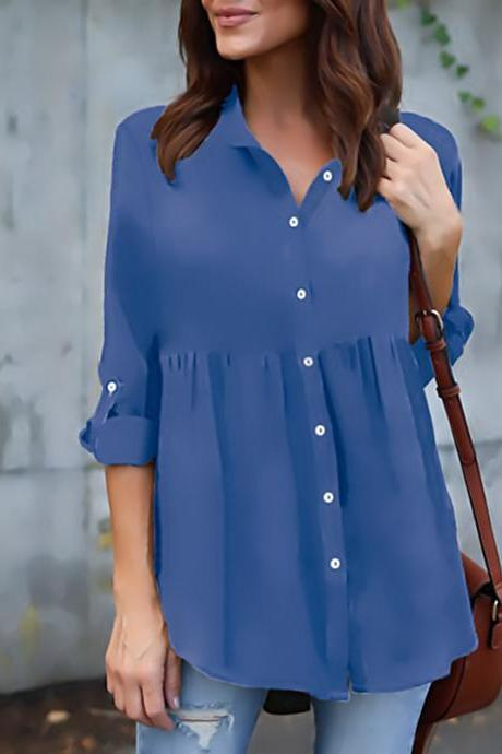 Chiffon Women Blouse Button Long Sleeve Casual Plus Size Ladies Office Shirts Tops blue