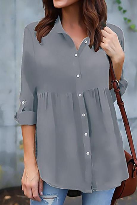 Chiffon Women Blouse Button Long Sleeve Casual Plus Size Ladies Office Shirts Tops gray