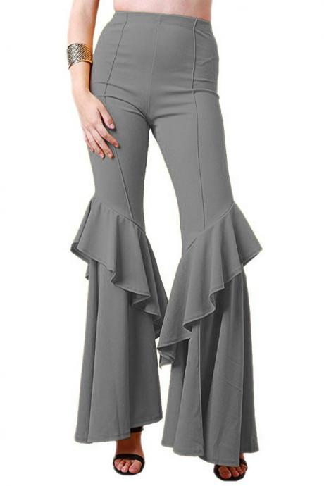 Fashion Women Flare Pants Stretch High Waist Solid Ruffles Wide Leg Long Trousers gray