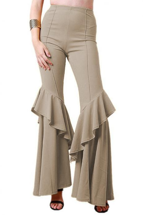 Fashion Women Flare Pants Stretch High Waist Solid Ruffles Wide Leg Long Trousers khaki