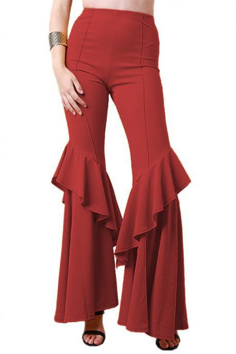 Fashion Women Flare Pants Stretch High Waist Solid Ruffles Wide Leg Long Trousers red