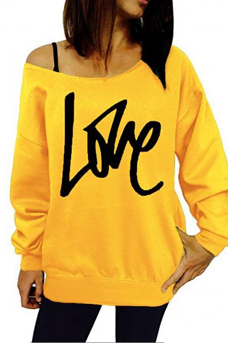 Women Hoodies Sweatshirt Spring Girls LOVE Letter Printed Long Sleeve Sexy Off The Shoulder Pullover yellow
