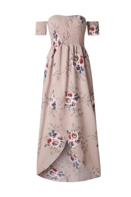Boho Beach Dress Summer Women Off Shoulder High Low Chiffon Floral Print Maxi SunDress khaki