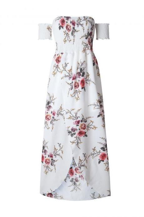 Floral Print Off-The-Shoulder Maxi Dress