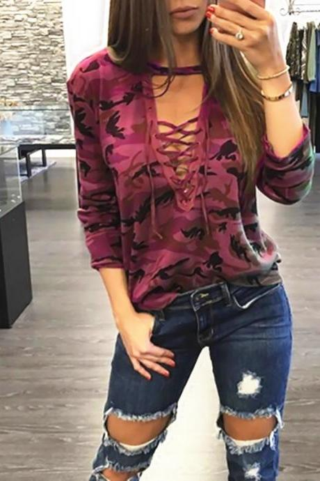 Women Camouflage T-Shirt Lace up Bandage V Neck Female Long Sleeve Lady Sexy Top Casual Tee burgundy