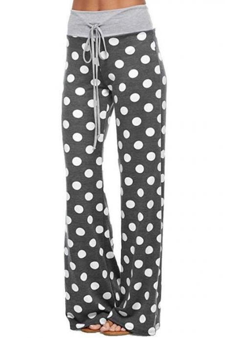 Women Long Wide-Leg Pants Drawstring Mid Waist Polka Dot/Camouflage Casual Straight Palazzo Trousers gray polka dot