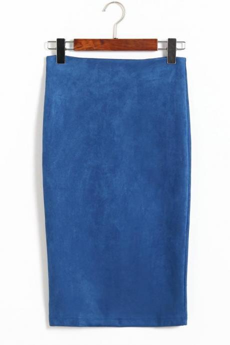 Spring Faux Suede Pencil Skirt High Waist Split Stretchy Bodycon Midi Skirt blue