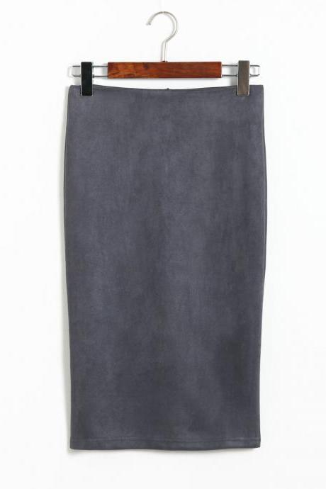 Spring Faux Suede Pencil Skirt High Waist Split Stretchy Bodycon Midi Skirt gray