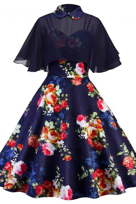 Vintage Cape Floral Dress Women Cloak Sleeve Two Piece Summer Formal Party Dress navy blue