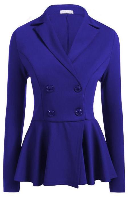 Women Slim Suit Coat Spring Autumn Long Sleeve Double-Breasted Work Wear Casual Jacket royal blue