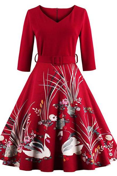 Vintage Women Swan Printed Dress Plus Size Belted Patchwork Swing Evening Party Dress red