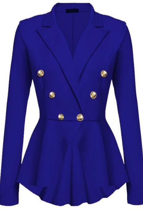 Women Slim Suit Coat Spring Autumn Metal Button Long Sleeve Double-Breasted Lady Blazer Work Wear royal blue