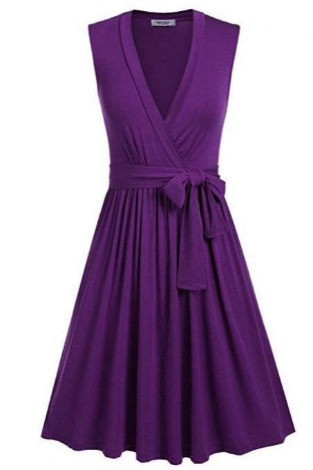 Women Summer Casual Dress V Neck Sleeveless Belted Swing Work Office Party Dress purple