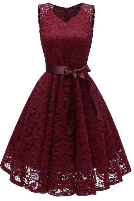 Vintage V Neck Belted Floral Lace Dress Sleeveless Tunic A Line Formal Prom Party Dress burgundy