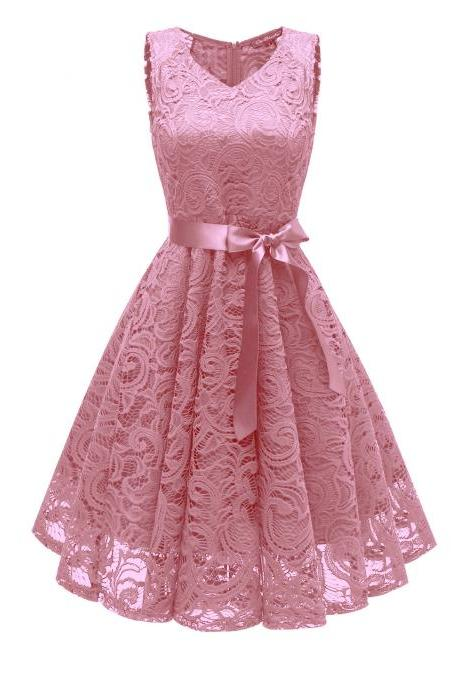 Vintage V Neck Belted Floral Lace Dress Sleeveless Tunic A Line Formal Prom Party Dress pink
