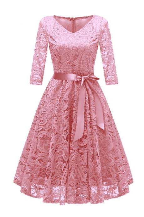 Vintage V Neck Belted Floral Lace Dress 3/4 Sleeve Swing A Line Formal Party Dress pink