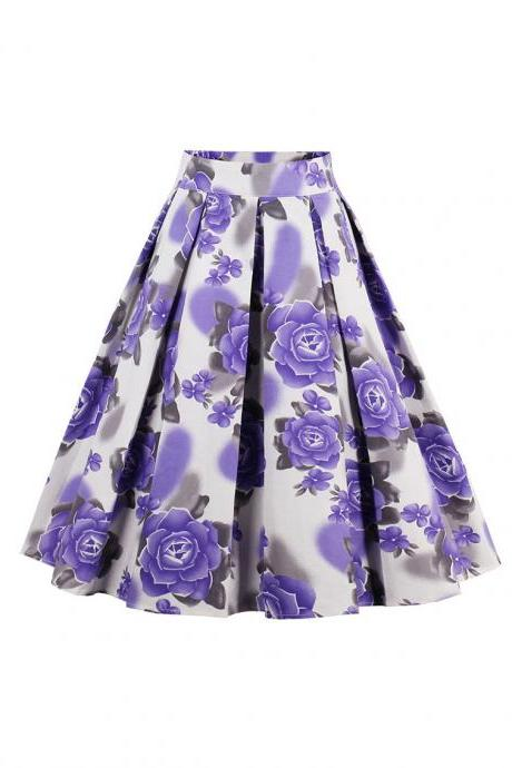 Retro Floral Printed Summer Skirts Womens High Waist Vintage A-Line Midi Skater Skirt 4#