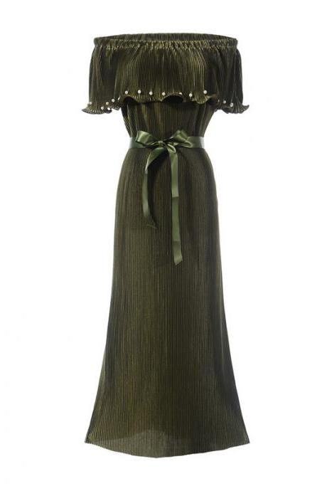 Army Green Pleated Off Shoulder Maxi Dress with Satin Sash and Pearl Embellishments