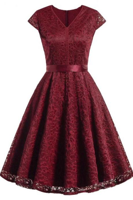 Women V-Neck Floral Lace Dress Belted Cap-Sleeve A Line Cocktail Work Office Party Dress burgundy