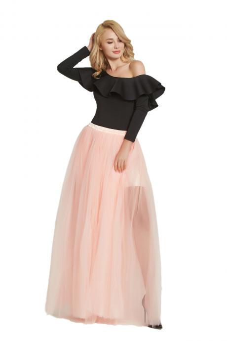 Sexy High Side Split Long Tulle A Line Skirt High Waist Floor Length Women Maxi Tutu Skirt salmon