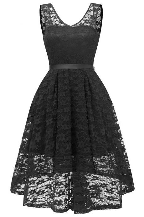 Vintage High Low Floral Lace Dress V Neck Backless Belted Women A Line Cocktail Party Dress black