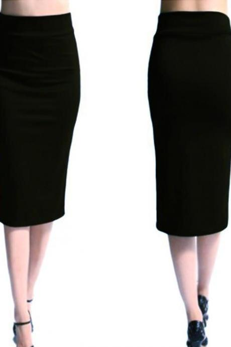 Slim Pencil Skirt High Waist Knee Length Casual Work Office Solid Sheath Bodycon Skirt black