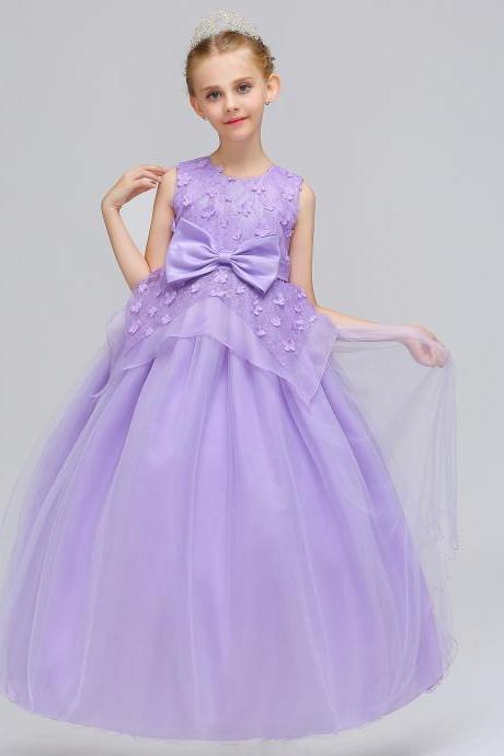 Long Flower Girl Dress Princess Lace Bow Birthday Formal Party Gowns Children Clothes lilac