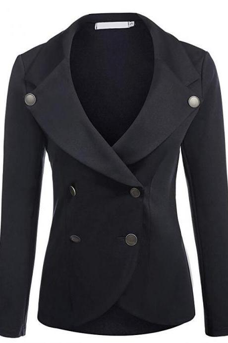 Women Slim Blazer Coat Spring Autumn Casual Long Sleeve Double-Breasted OL Work Suit Jacket