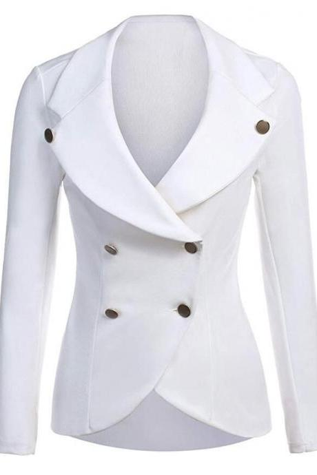 Women Slim Blazer Coat Spring Autumn Casual Long Sleeve Double-Breasted OL Work Suit Jacket white