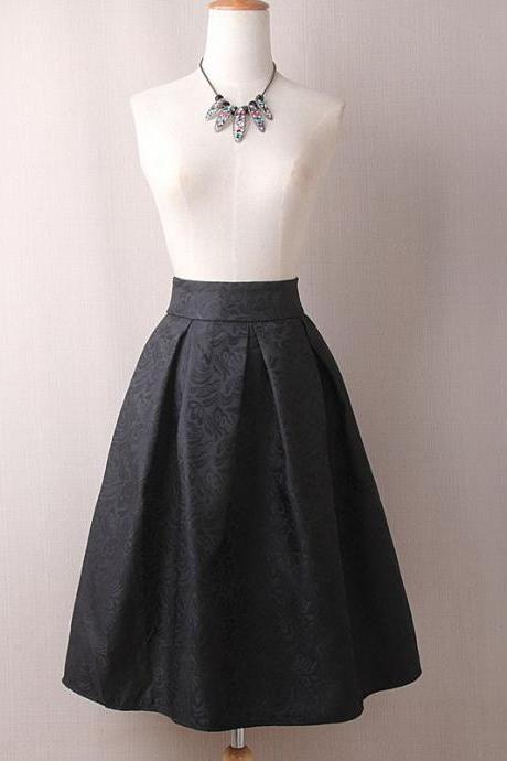 Vintage A Line Midi Skirt High Waist Knee Length Women Work Pleated A Line Skater Skirt black