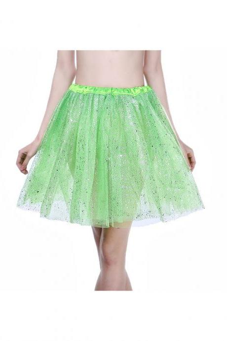 Adult Tutu Skirt Sequin Gilding Polka Dot 3 Layers Party Dance Ballet Pettiskirt Tulle Girl Mini Skirt lime green