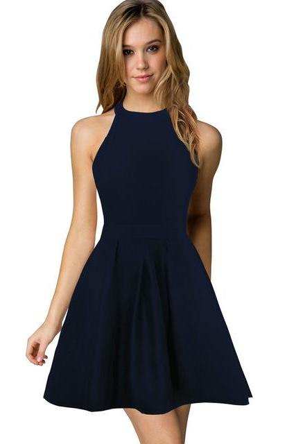 Sexy Short Nightclub Wear Halter Blackless Zipper A-Line Mini Cocktail Party Dress navy blue