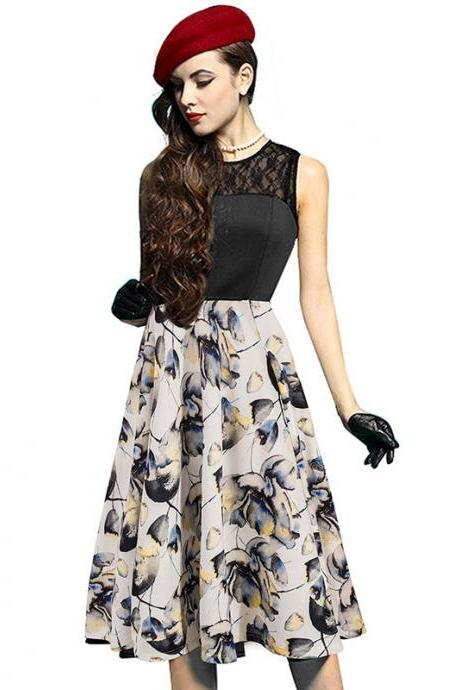 Women Lace Patchwork Casual Dress Floral/Polka Dot Printed Summer Sleeveless A Line Party Dress black+yellow floral