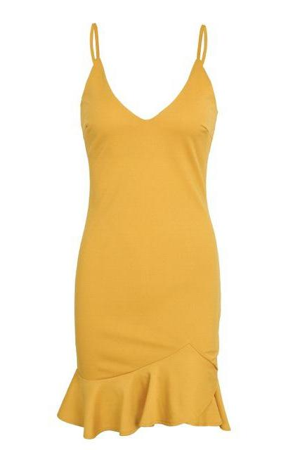 Sexy V Neck Mini Dress Spaghetti Strap Ruffle Mermaid Women Summer Bodycon Club Party Dress yellow
