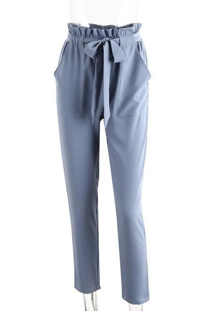 Women OL High Waist Harem Pants Stringyselvedge Summer Style Work Office Casual Trousers blue gray