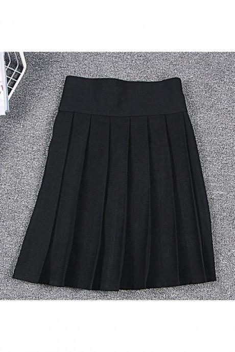 Harajuku JK Summer Skirt Women High Waist Cosplay Solid Girl Mini Pleated Skirt black