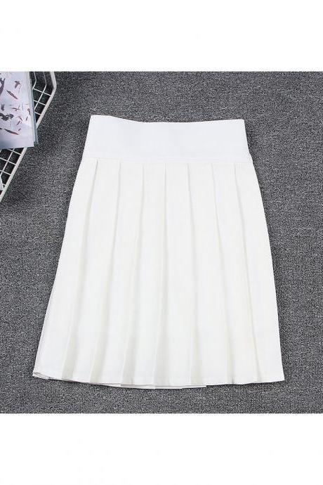 Harajuku JK Summer Skirt Women High Waist Cosplay Solid Girl Mini Pleated Skirt off white