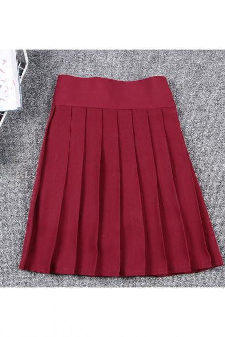 Harajuku JK Summer Skirt Women High Waist Cosplay Solid Girl Mini Pleated Skirt crimson