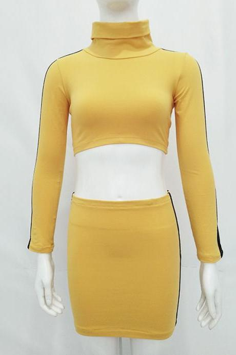 Two Pieces Set Striped Women Summer Long Sleeve Cropped Top+Bodycon Mini Party Dress Sexy Tracksuits yellow