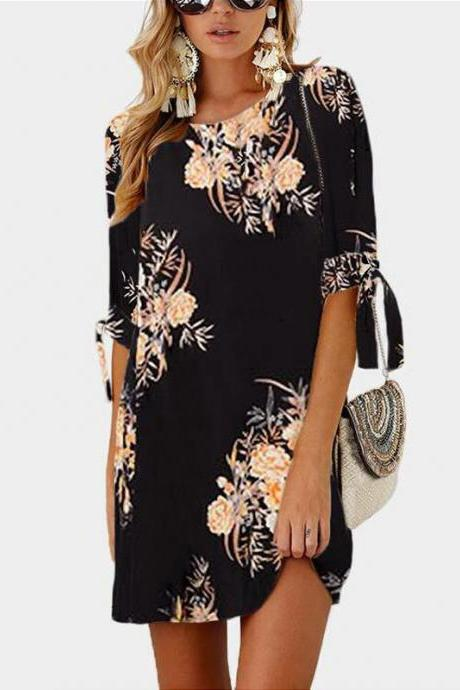 Women Short Casual T Shirt Dress Summer Boho Floral Printed Short Sleeve Loose Mini Beach Party Dress YS80805-black