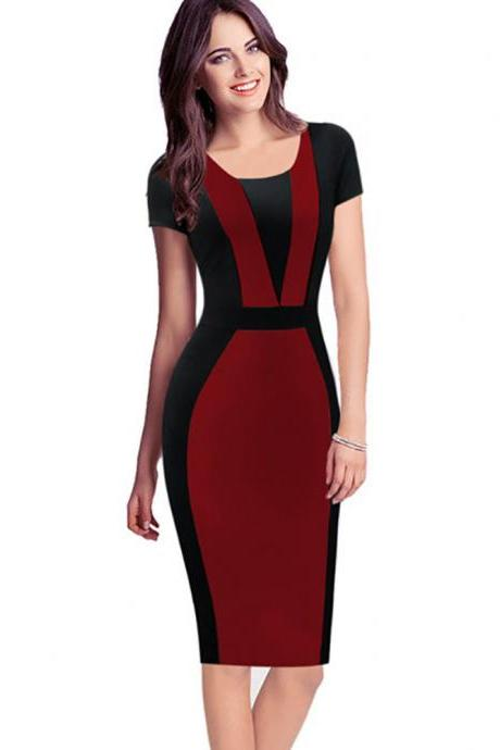 Women Bodycon Pencil Dress Patchwork Contrast Color Short Sleeve Sheath Work Office Party Dress red