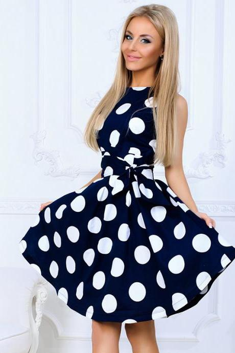 Vintage Polka Dot Printed Casual Dress O-Neck Summer Sleeveless A Line Party Dress navy blue