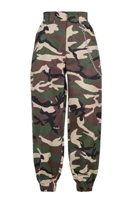 Women Harem Pants Streetwear High Waist Casual Dance Sweatpants Chain Zipper Cargo Trousers camouflage