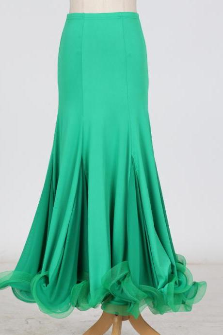 New Fashion Ballroom Dance Skirt Mermaid Ruffles Standard Modern Dance Waltz Tango Skirt green