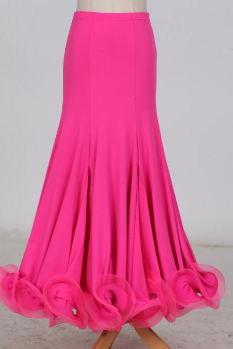 New Fashion Ballroom Dance Skirt Mermaid Ruffles Standard Modern Dance Waltz Tango Skirt hot pink