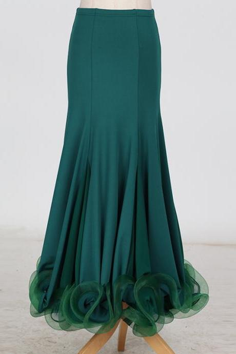 New Fashion Ballroom Dance Skirt Mermaid Ruffles Standard Modern Dance Waltz Tango Skirt hunter green