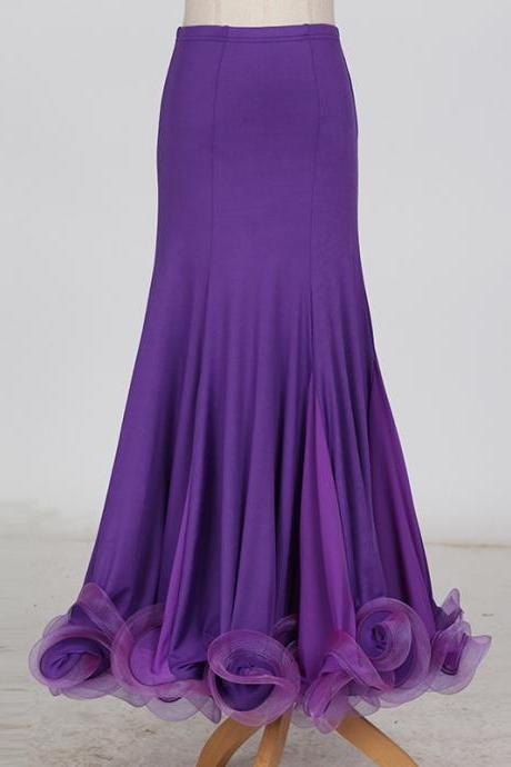 New Fashion Ballroom Dance Skirt Mermaid Ruffles Standard Modern Dance Waltz Tango Skirt purple