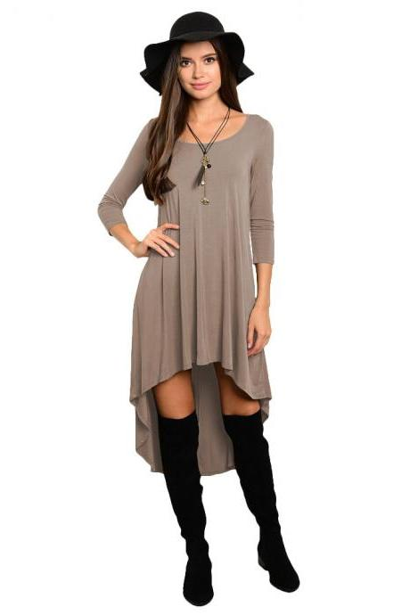 Comfortable Summer Casual Loose Dress Women Solid Long Sleeve O-Neck Asymmetrical Plus Size Dress khaki