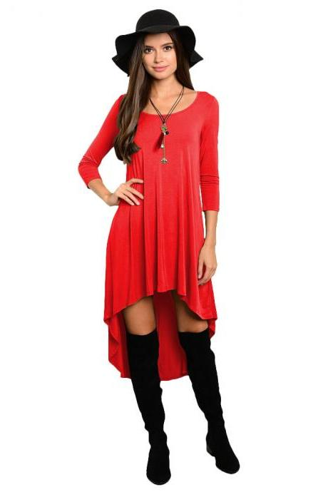 Comfortable Summer Casual Loose Dress Women Solid Long Sleeve O-Neck Asymmetrical Plus Size Dress red
