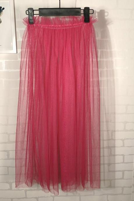 Summer Style Sheer Tulle Skirts A Line Tea Length High Waist Sexy Women See Through Skirt hot pink